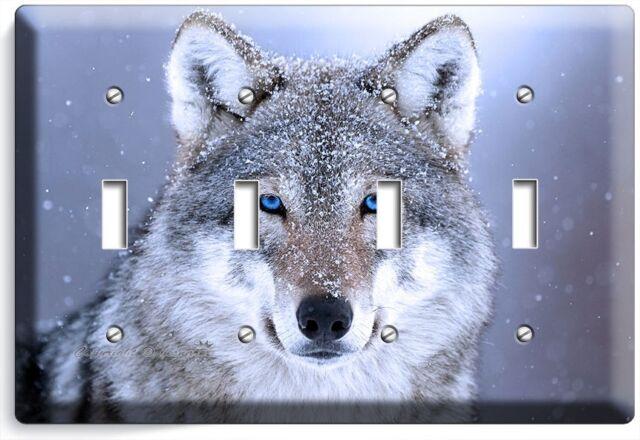 Wild Gray Wolf W Blue Eyes Snow Quadro Light Switch Wall Plate Cover Home Decor Ebay