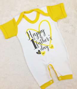Personalised Happy First Father/'s Day 2019 Baby Grow Baby Gifts First Dad New