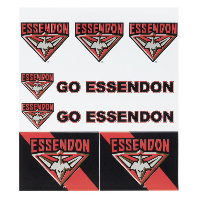 Licensed AFL Essendon Bombers LOGO Car Sticker Sheet Christmas Birthday Gift