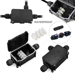 2 Way Outdoor IP68 waterproof cable Wire connector junction box 240v UK mains