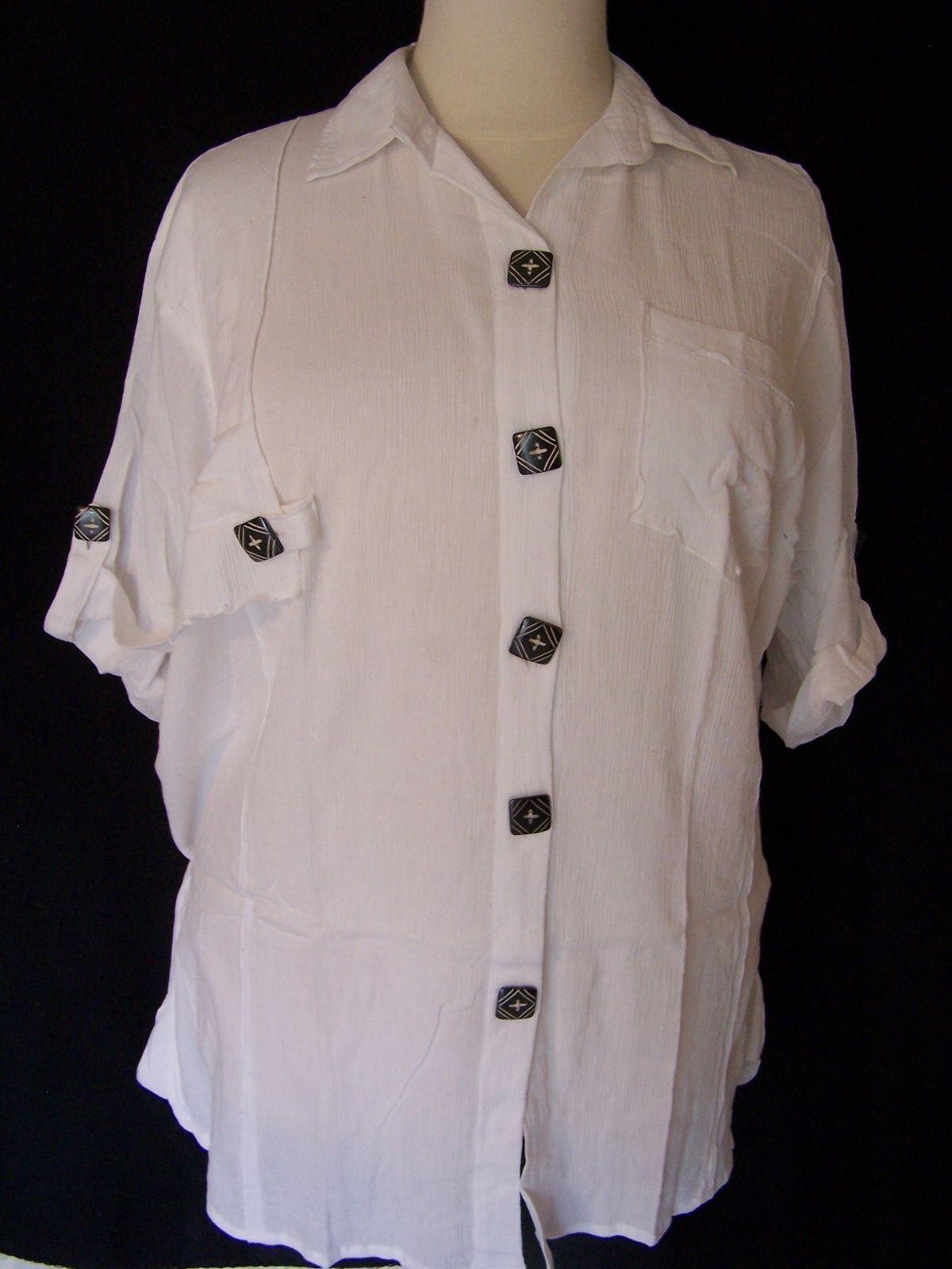 Plus Größe Chai Latte Blouse by We Be Bop Big Shirt 409 Weiß Crinkle Cotton Top
