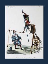SEILTÄNZER Artisten Acrobat Lithografie koloriert DELAPORTE aus La Caricature