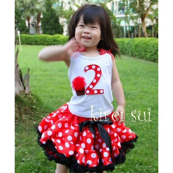 Baby 1st 2nd 3rd Cupcake Tank Top Minnie Mouse Pettiskirt Birthday Party Dress