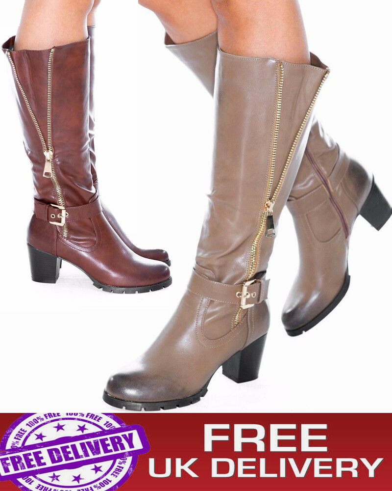 New Shoes Ladies Women's Knee High Mid Calf Long Boots Block High Heel *Quality*
