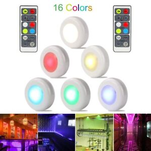 LED Closet Lights RGB Wireless LED Puck Lamps 16 Colors Under Cabinet Lighting