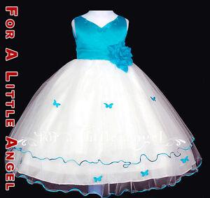 Aqua Blue Flower Girl Dress Butterfly sz S 2 4 6 8 10 | eBay