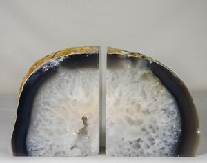 7-1Lbs-Agate-Bookends-Geode-Crystal-Polished-Brazil-Specimen