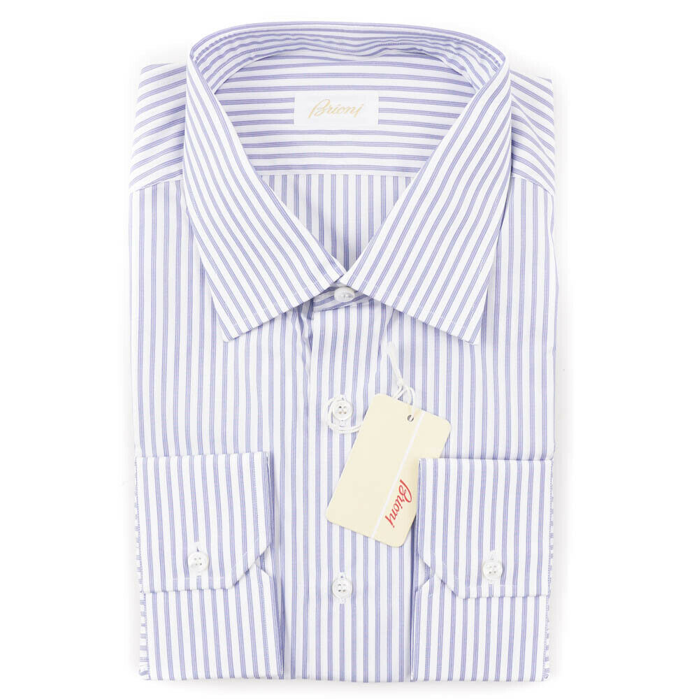 NWT  BRIONI bluee and White Striped Extrafine Cotton Dress Shirt 17.5 x 35