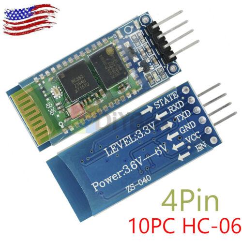 1//2//5//10PC Wireless 4 Pin Bluetooth RF Transceiver Module HC-06 RS232  backplane