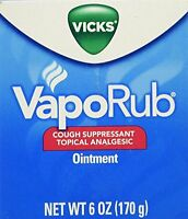6 Oz Vicks Vaporub Vapo Rub Chest Rub Jar Cough Suppressant Ointment on sale