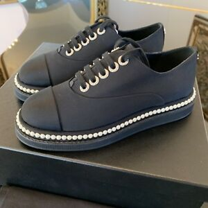 10ad8b4ac6 NIB Chanel 17P Black Canvas Pearl Lace Up Tie Platform Loafer ...