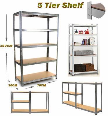 5 Tier Heavy Duty Boltless Rack Racking Warehouse Garage Storage Shelving Unit