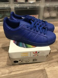 online store 6ff85 919dc Image is loading Adidas-Superstar-Super-Color-Pack-Pharrell-Williams-Blue-