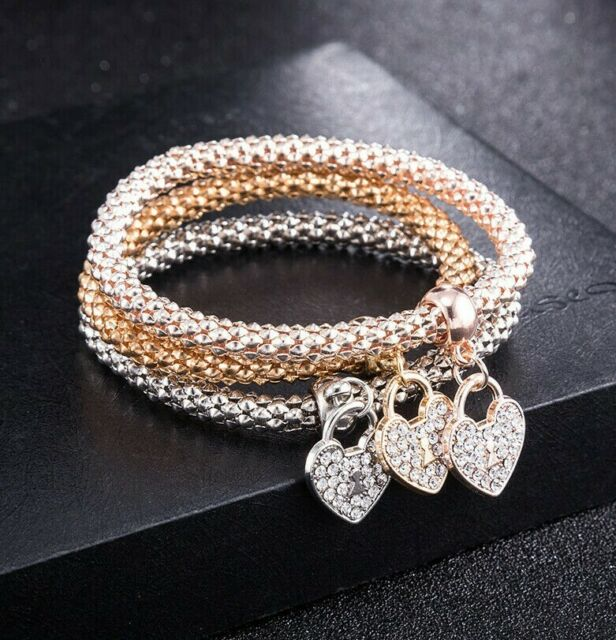Popcorn Mesh Stretch Bracelet Tri Color 14K Rose Gold with Swarovski Crystals