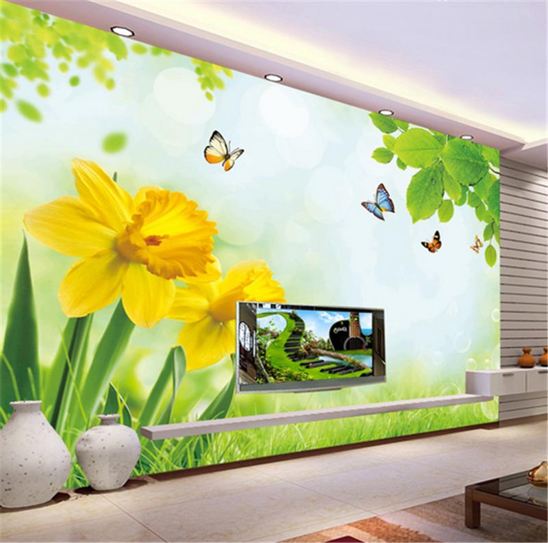 3D Leaves Flower Butterfly7 Wallpaper Mural Paper Wall Print Wallpaper Murals UK