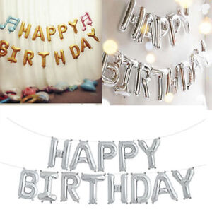 self inflating happy birthday banner foil balloon bunting gold