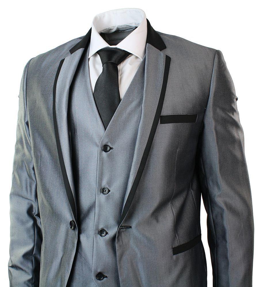 Da UOMO UOMO Da LUCIDO GRIGIO 3 Pezzi Suit Nero Trim Aderente Festa Matrimonio Prom 1 pulsante 88b102
