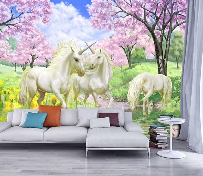 3D Unicorn Forest 754 Wall Paper Murals Wall Print Wall Wallpaper Mural AU Kyra
