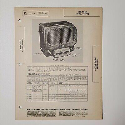 1946 CHEVROLET 985792 RADIO PHOTOFACT