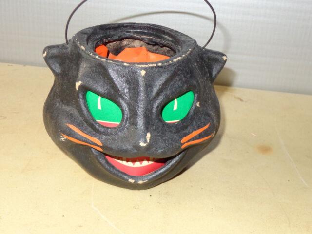 VINTAGE PAPER MACHE BLACK CAT FACE JACK O LANTERN PUMPKIN Halloween Decoration