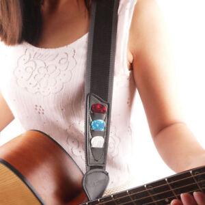 Sangle-de-Guitare-Nylon-Guitar-Pick-Holder-avec-3-Pics-pour-guitare-electrique