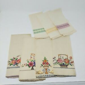 Vintage-Hand-Towels-Embroidered-Beige-Linen-Rectangle-Floral-Geometric-7
