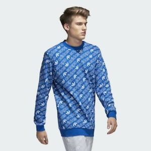 Details about NEW ADIDAS AOP TREF SUPERSTAR FLEECE TOP CREW SWEATER PULLOVER HOODIE MEN BLUE