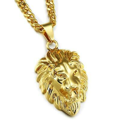 Free Gift Box 18K Gold Plated Lion Head Necklace Bling Pendant