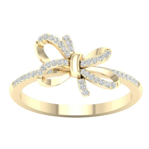 Details about  /10k Yellow Gold 0.12Ct TDW Diamond Knot Ring