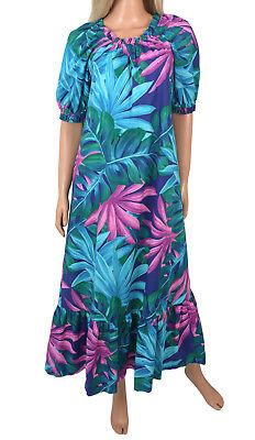 80\u2019s Retro Hawaiian Long Cotton Mumu Dress