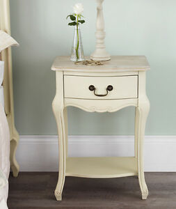 Image Is Loading Juliette Shabby Chic Champagne Bedside Table Embled Cream