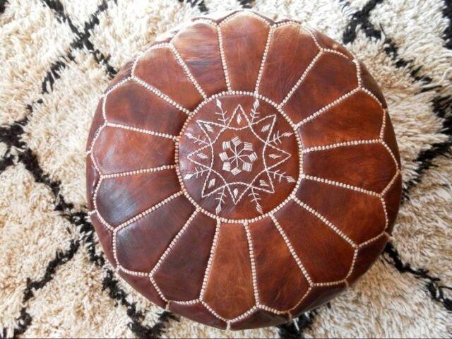Authentic MOROCCAN POUF Leather Pouf Ottoman Pouffe footst