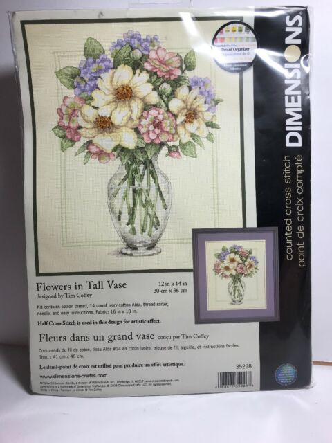 Cross Stitch Kit Dimensions Colorful Spring Flowers in Tall Vase #35228 *NEW*