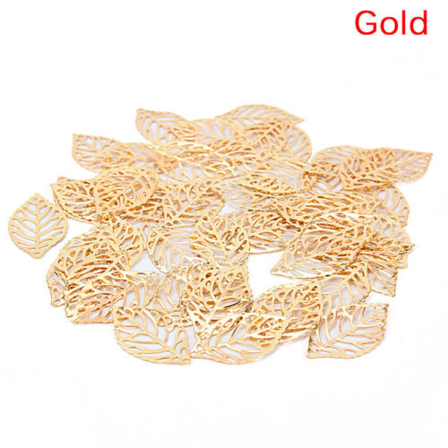 50Pcs Charm Filigree Hollow Leaves Pendant DIY Jewelry Making Leaf Metal CrYJUS