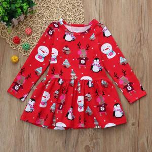 Toddler-Kid-Baby-Girl-Christmas-Clothes-Long-Sleeve-Party-Princess-Short-Dress-X