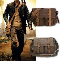 Men's Vintage Canvas Leather Satchel Cross Body Military Shoulder Messenger Bag
