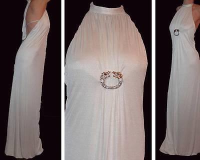 RARE MARCIANO GRECIAN EMPIRE LONG WHITE DRESS DRAGON GOLD RHINESTONES BROOCH XS