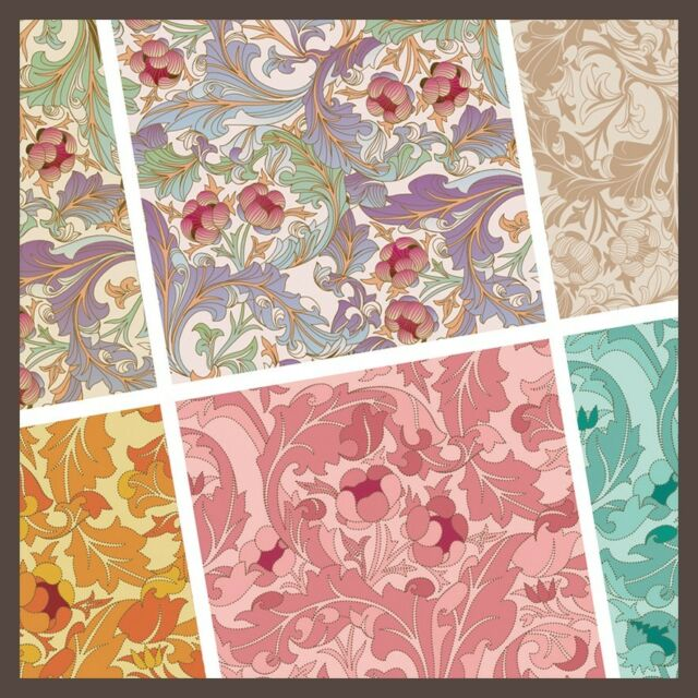 exclusive 48/ 24pc classic elegant floral pattern scrapbook paper 6 design