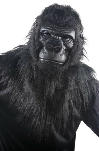 Mens Ladies Faux Fur Gorilla Mask with Moving Jaw Fancy Dress Costume Outfit