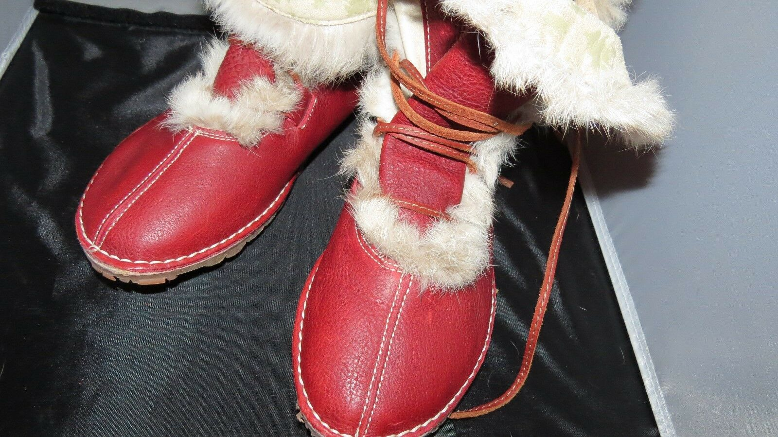 El Naturalista Organico Donna Pull Grain Leather W/ Fur Ankle Boots -Tibet Rosso
