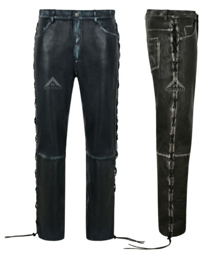 Mens Biker Pants Laced Vintage Leather Trousers Real Lambskin Riding Pants 00126