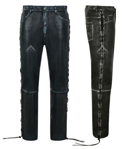Men/'s Biker Laced Vintage in Pelle Pantaloni di Pelle di Agnello reale RIDING PANTS 00126