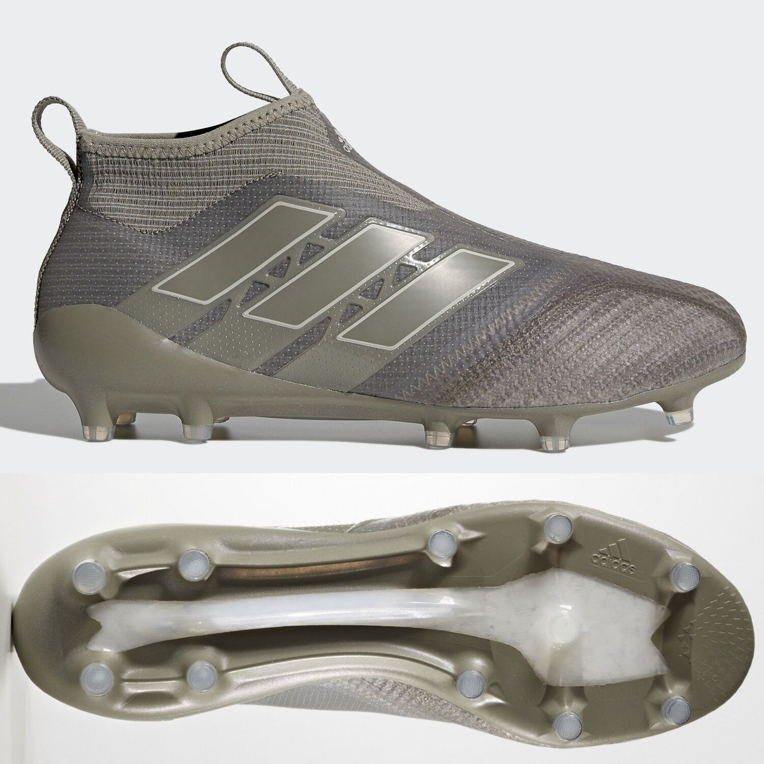 Adidas Ace 17+ Purecontrol FG Mens Footbtutti stivali Cleats Marronee Laceless RRP