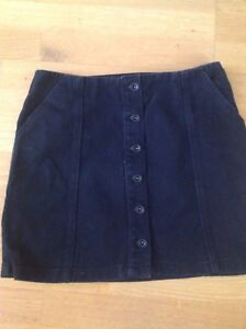 67da34a98a3 Image is loading A-line-buttoned-down-black-denim-mini-skirt-