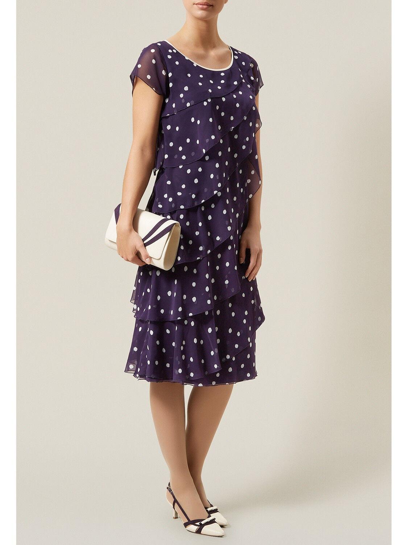 New Jacques Vert Dress Chiffon 14 Spotted spot Purple Ivory Asymmetric Layered
