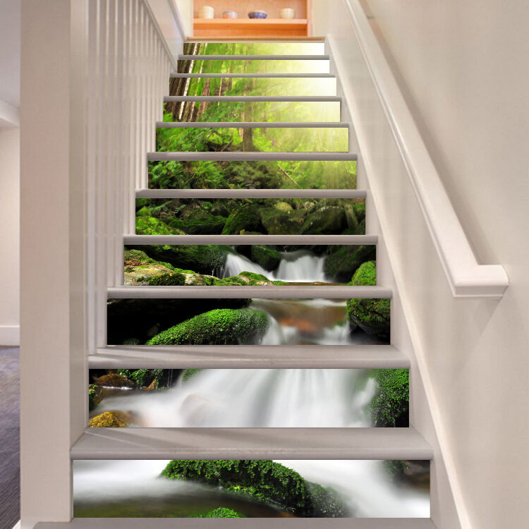 3D Bright stream 00 Stair Risers Decoration Photo Mural Vinyl Decal Wallpaper US