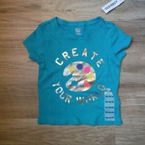 Girls-Old-Navy-Teal-green-tee-Shirt-size-18-24-months-Create-Your-World-new
