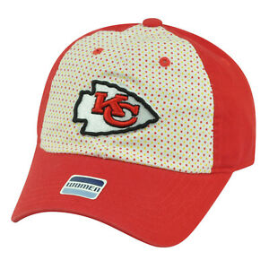 NFL Kansas City Chiefs Polka Dot Women Ladies Relaxed Slouch Hat Cap ... a5d35c327