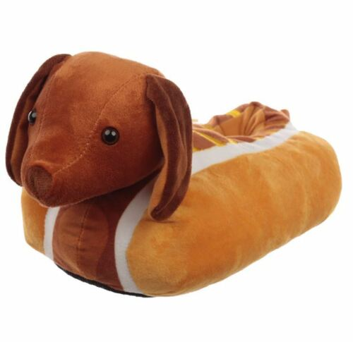HOT DOG SAUSAGE DOG SUPER SOFT PLUSH COSY SLIPPERS PUC
