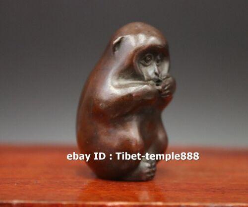 5 CM red Copper bronze auspicious Chinese Zodiac Animal lucky Monkey sculpture
